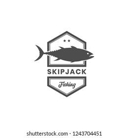 Vintage skipjack mackerel tuna fishing logo template