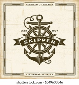 Vintage Skipper Label. Editable EPS10 vector illustration in retro woodcut style with transparency.