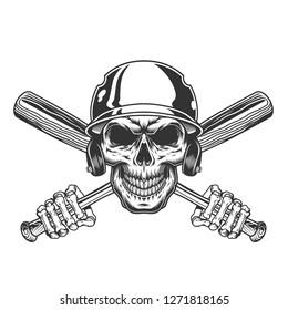 Vintage skull in baseball helmet with skeleton hands holding crossed bats isolated vector illustration