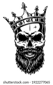 vintage skull with beard on white background. Usable for tattoos, t-shirt designs, banners etc.