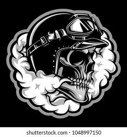Vintage skull biker with smoke emblem