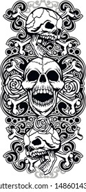 vintage skull and bones tattoo sleeve