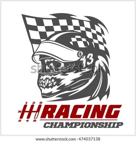 Vintage Skull Checkered Flags Racing Stock Vector (Royalty Free ... 6b7f7c435a82