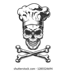 Vintage skull in chef hat with crossbones isolated vector illustration