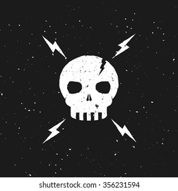 Vintage Skull illustration with lightning bolts. Vector picture. Template for print, cover, banner, flyer etc.