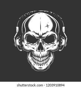 Vintage skull listening music in headphones in monochrome style isolated vector illustration