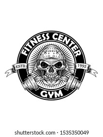 vintage skull logo template for gym and fitness