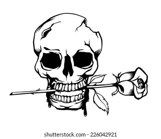 Vintage Skull and Roses, illustration vector design.