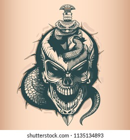 Vintage skull with sword and snake, monochrome hand drawn tattoo style