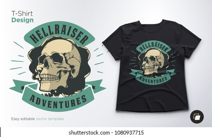 Vintage skull vector emblem. Print for t-shirts, sweatshirts and souvenirs.