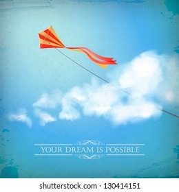 Vintage sky old paper background. Flying kite, white fluffy clouds, divider lines, text, subtle grunge texture at the backdrop in blue colors on a clear summer day. Concept dream design in retro style