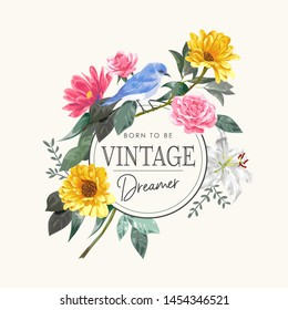 vintage slogan with blue bird and colorful flowers illustration