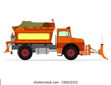 Vintage snowplow. Vector illustration without gradients on one layer.