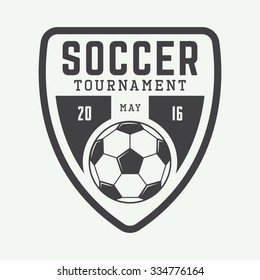 Vintage soccer or football logo, emblem, badge, label and watermark with ball in retro style. Vector illustration