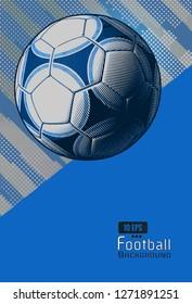 Vintage soccer football on dynamic background template layout artwork in blue color scheme