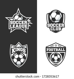 Vintage Soccer logo. Football team, championship emblem template. Prints for t-shirt. Retro typography. Sport logo templates. Vector illustration