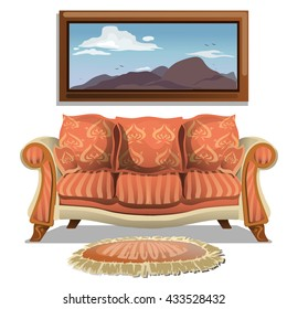 Vintage sofa with soft rug and a painting in the background. Vector.
