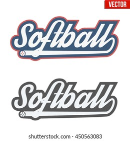 Vintage softball labels and badges. Symbol of sport or club with shield and tag. Vector Illustration isolated on white background.