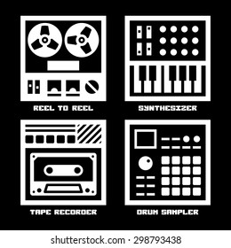 Vintage Sound Recording Music Equipment Icons Set. Reel To Reel, Analog Synthesizer, Tape Recorder, Drum Sampler.