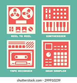 Vintage Sound Recording Music Equipment Color Icons Set. Reel To Reel, Analog Synthesizer, Tape Recorder, Drum Sampler.