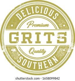 Vintage Southern Style Grits Menu Stamp