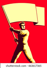 Vintage soviet socialist propaganda style patriot man holding blank flag vector illustration, political protest activism patriotism
