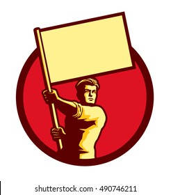 Vintage soviet socialist propaganda style patriot man holding blank flag in a circle vector illustration, political protest activism patriotism