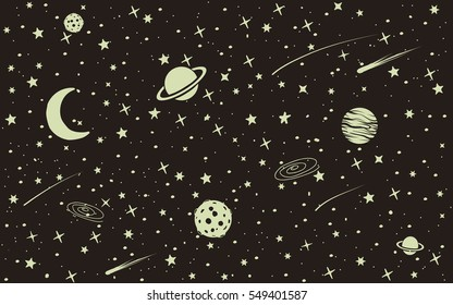 Vintage space background with many stars ,planets,moon,meteorites.Vector illustration
