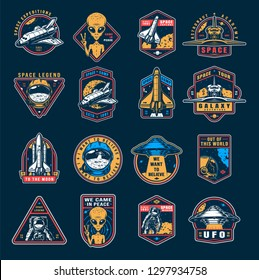 VIntage space colorful emblems set with astronaut spaceship shuttle alien showing peace sign cosmonaut helmet ufo vector illustration