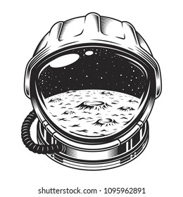 Vintage space helmet concept with moon and galaxy landscape isolated vector illustration