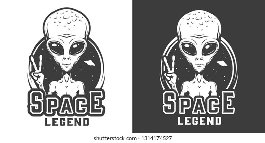 Vintage space monochrome logotype with alien showing peace sign isolated vector illustration