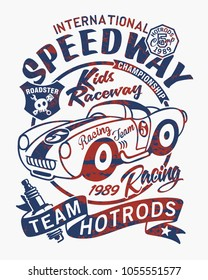 Vintage speedway kids roadster racing team, vector print with fabric applique for children wear grunge effect in separate layer