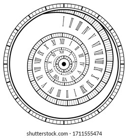 Vintage spiral watch. Roman numerals spiral watch, isolated on white, vector illustration