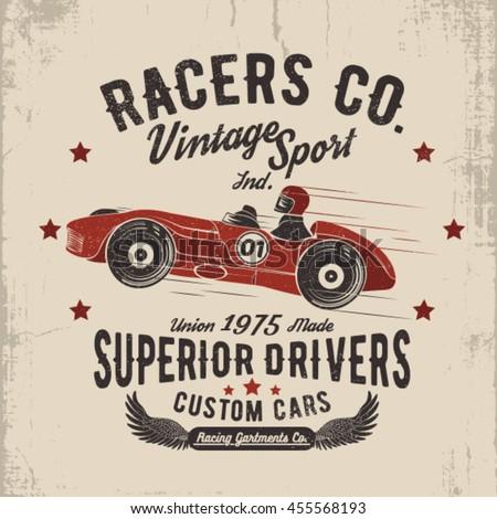 0ad4fbd22c94 Vintage Sport Cart Illustration Tee Print Stock Vector (Royalty Free ...
