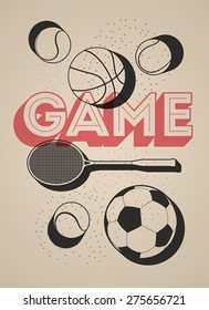 Vintage sport poster with basketball, football, tennis balls and racket. Retro vector illustration.