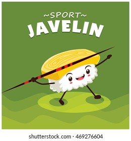 Vintage sport poster design with vector sushi throwing javelin character.
