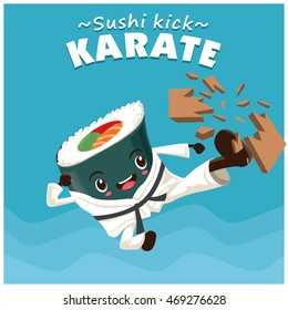 Vintage sport poster design with vector sushi karate kick character.