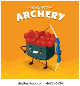 Vintage sport poster design with vector sushi archery character.