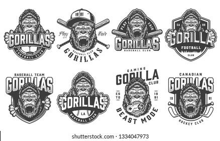 Vintage sport teams logotypes set with ferocious gorilla mascots of football hockey baseball gaming clubs in monochrome style isolated vector illustration