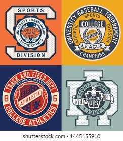 Vintage sporting college athletic department vector badge and patch collection for t shirt sport wear
