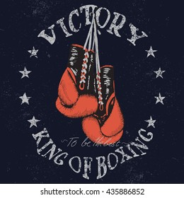Vintage sports graphic label with boxing gloves .Grunge effect.Typography design for t-shirts. Vector illustration