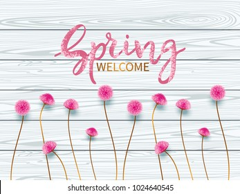 Vintage spring floral background.Lettering Spring Welcome.Border with small pink flowers on background of wooden blue boards. Vector illustration