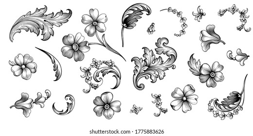 Vintage spring flower summer daisy scroll Baroque Victorian frame border floral ornament leaf engraved retro pattern decorative design tattoo black and white filigree calligraphic vector