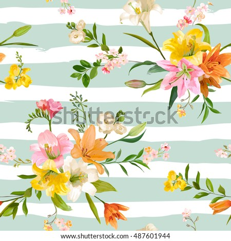 Vintage spring flowers backgrounds seamless floral stock vector vintage spring flowers backgrounds seamless floral lily pattern in vector mightylinksfo