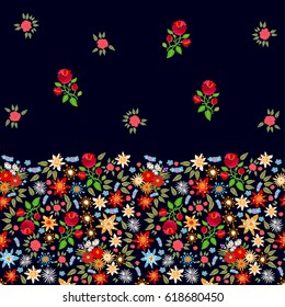 Vintage spring. Seamless border with floral elements. Retro textile collection.
