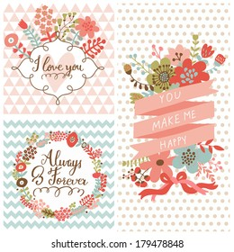 Vintage spring set. Stylish floral cards with labels, ribbons, hearts, flowers. Save the date invitations in vector