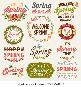 Vintage Spring typography design with labels, icons elements collection