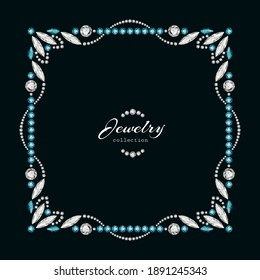 Vintage square frame with jewelry border pattern with diamonds and emerald gemstones, vector jewellery ornament on black background, elegant decoration for book cover or fashionable packaging design