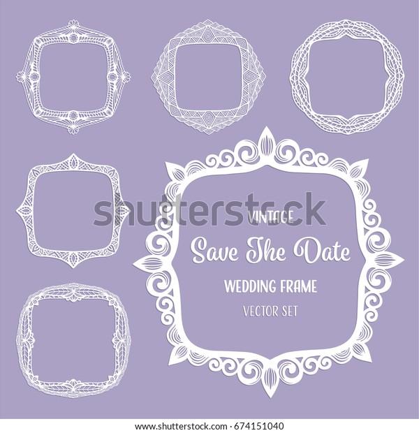 Vintage Square Frames Art Deco Borders Stock Vector Royalty
