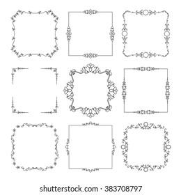 Vintage square frames set isolated on white.